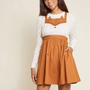 ModCloth Fox pinafore dress
